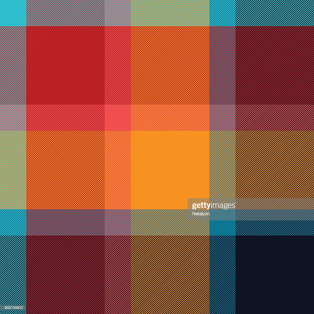 Colorful checkered tartan fabric seamless pattern, vector