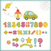 Colorful children numbers and decorative holidays symbols.