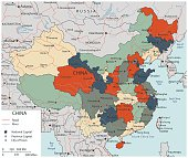 Colorful China political map with selectable territories. Vector