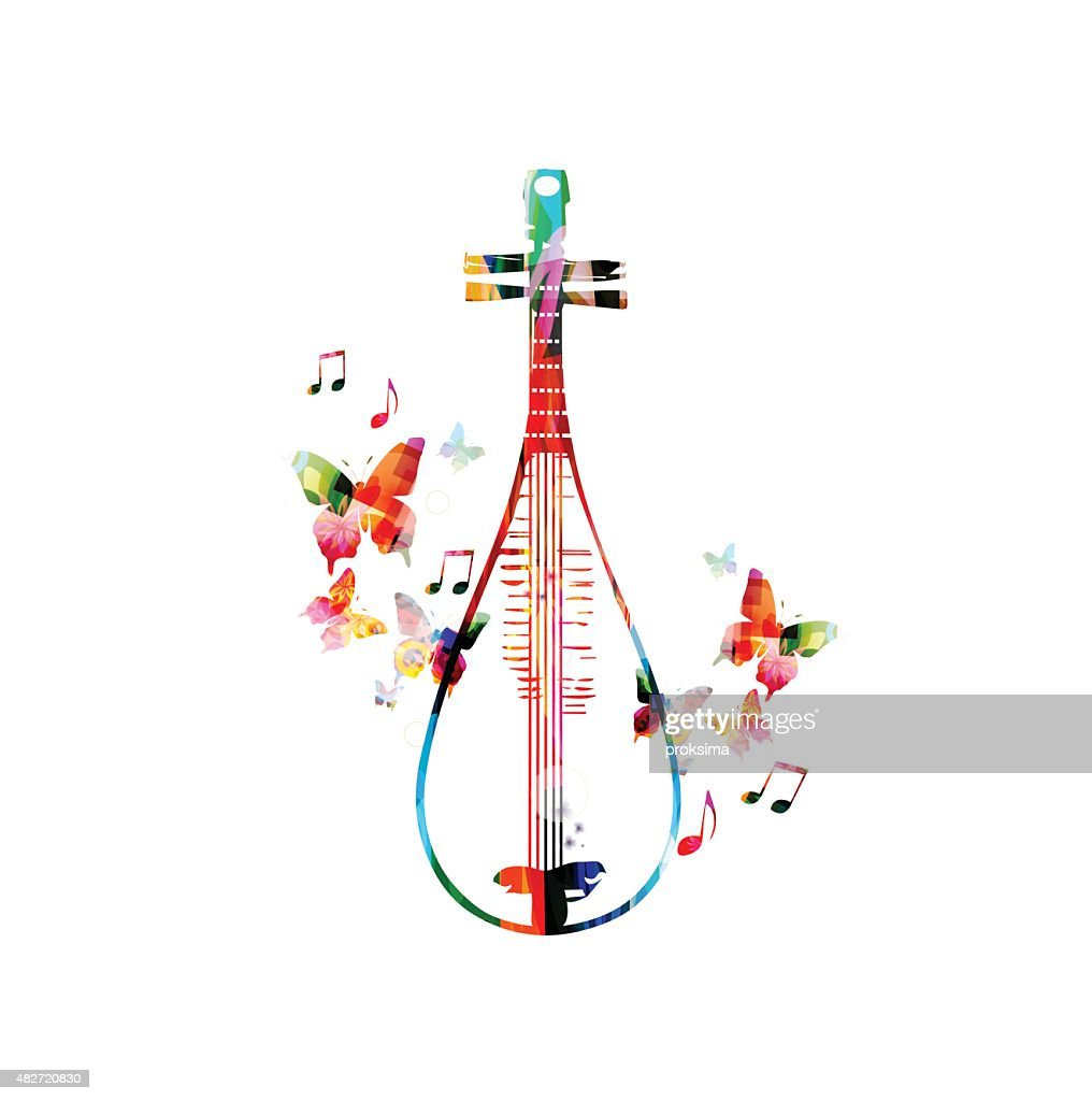 Colorful Chinese lute design