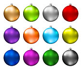 Colorful christmas baubles. Color spectrum of christmas balls isolated on white background. Photorealistic high quality vector.