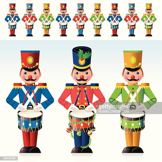 colorful christmas drummers - epaulettes stock illustrations