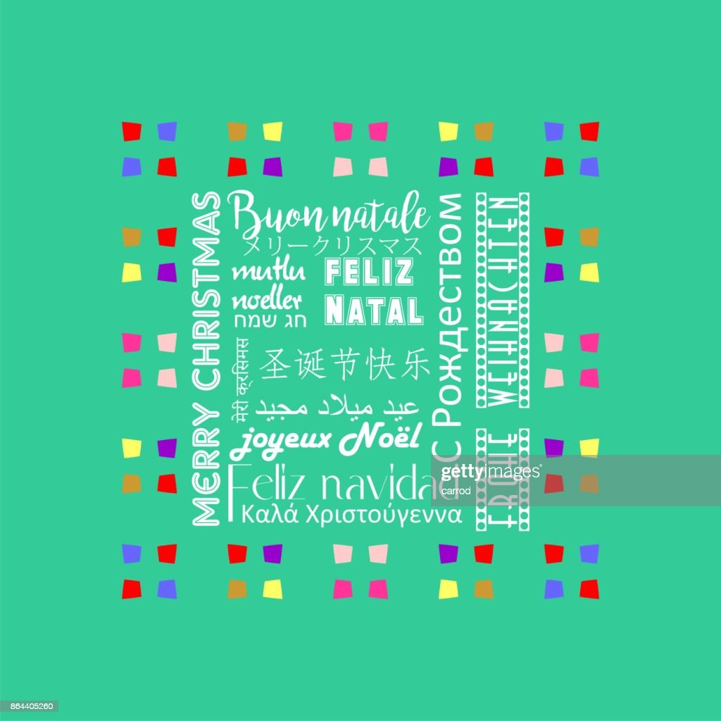 Colorful Christmas Greeting Card Written In Italian Language Vector