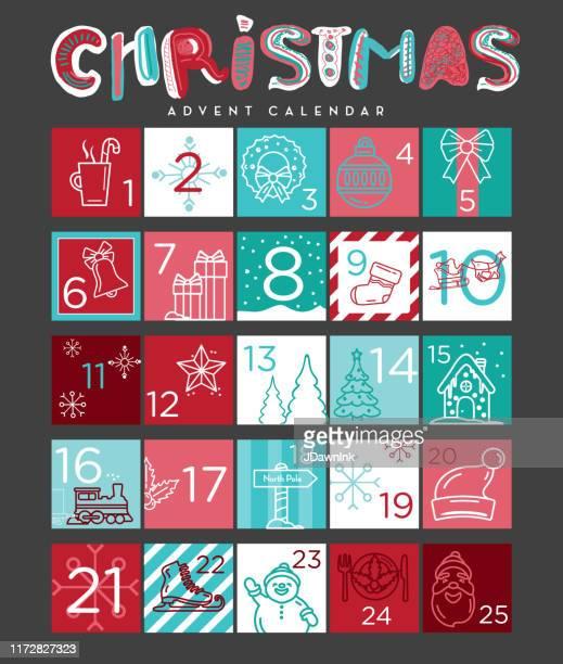 illustrazioni stock, clip art, cartoni animati e icone di tendenza di colorful christmas holiday advent calendar design set with line icons and number designs - avvento