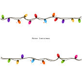 Colorful Christmas light bulb frame. Happy new year greeting card