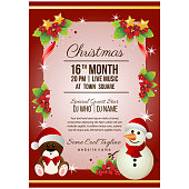 colorful christmas party poster template snowman and bear