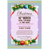 colorful christmas party poster template with ball decoration