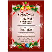 colorful christmas party poster template with bell decoration