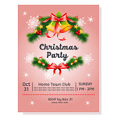 colorful christmas party poster with bell decoration ribbon