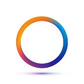 Colorful circle shape template. Vector abstract ring with empty space. Colors of run on metal eps 10. Isolated technology circular icon on white background