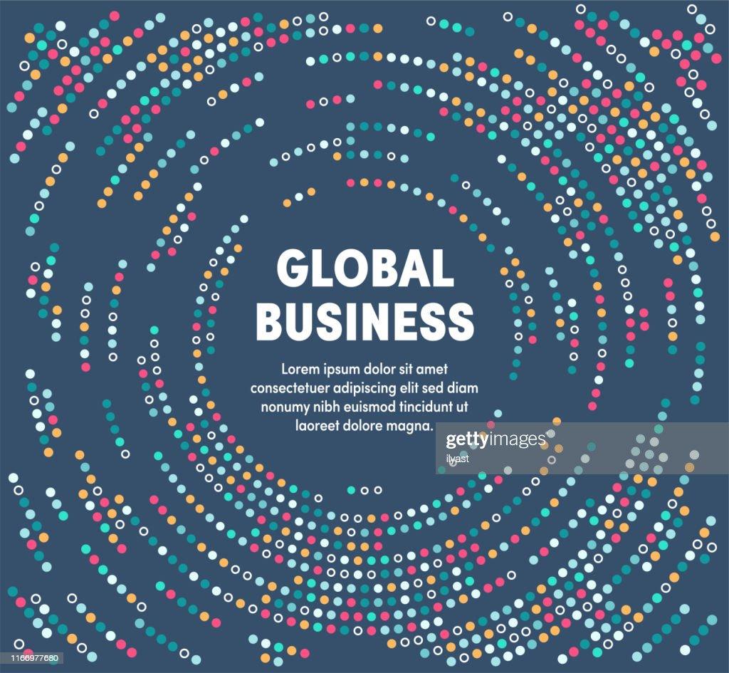 Bunte kreisförmige Bewegungsillustration für globales Geschäft : Stock-Illustration