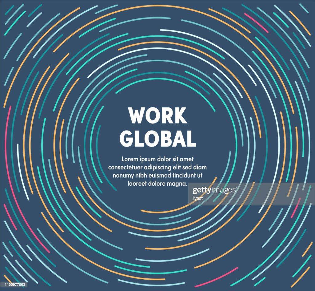Illustrazione circolare colorata per il lavoro globale : Illustrazione stock