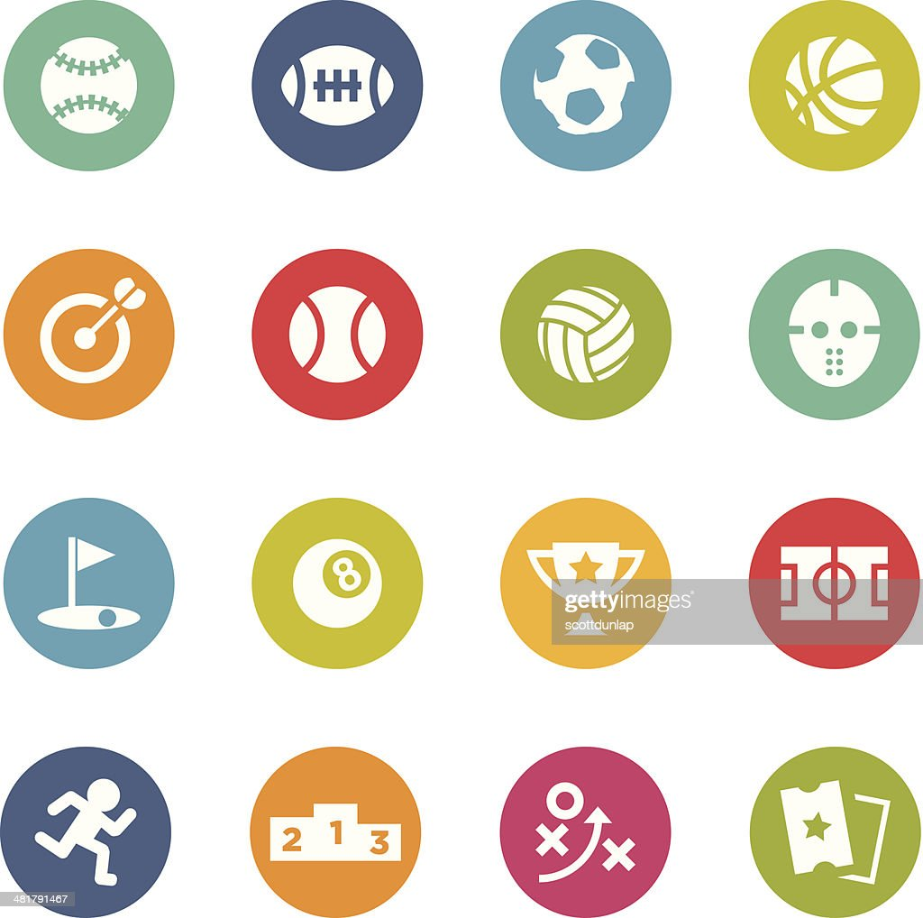 Colorful circular sports icons on white background
