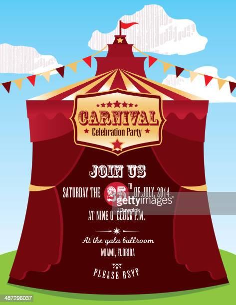 Bunte circus oder Karneval-Einladung design-Vorlage