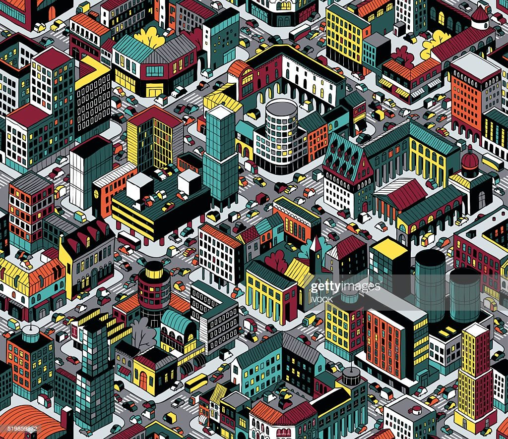 Colorful City Blocks Isometric Seamless Pattern - Medium size