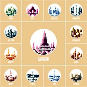 colorful city icons, cities of the world