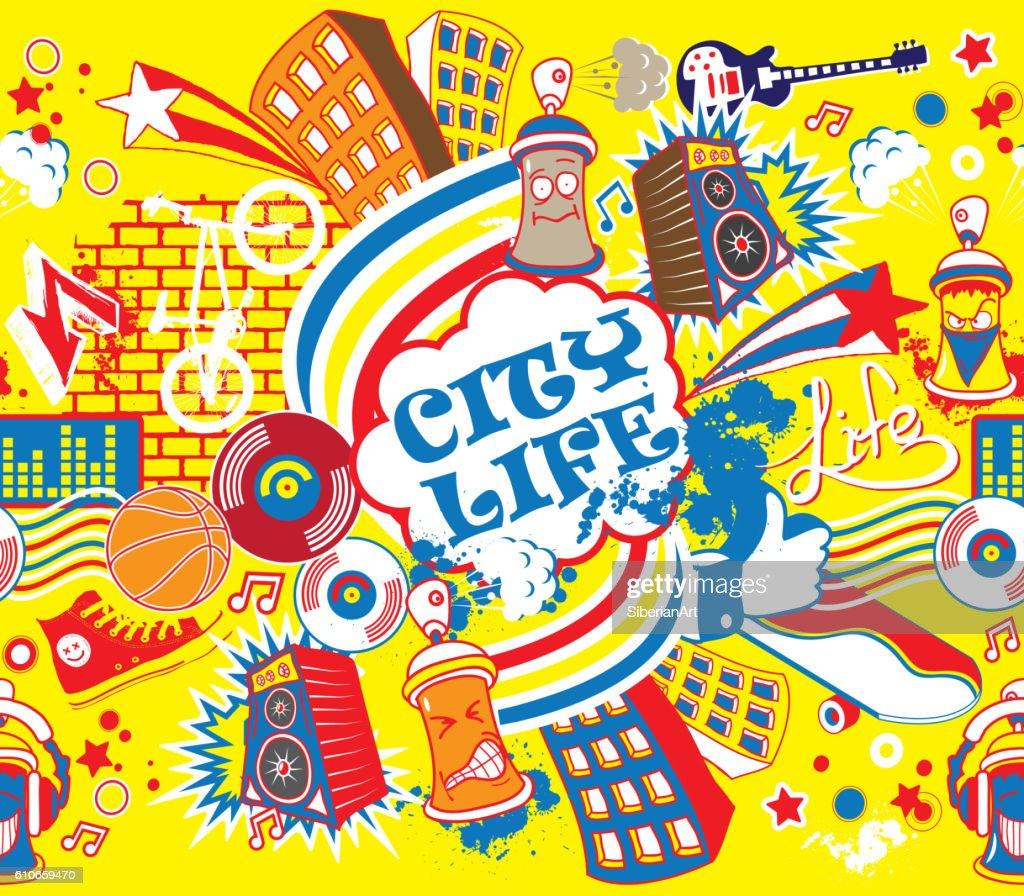 Colorful city life horizontal seamless pattern. Urban city vector illustration