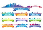 Colorful city skyline Australia and the Island country