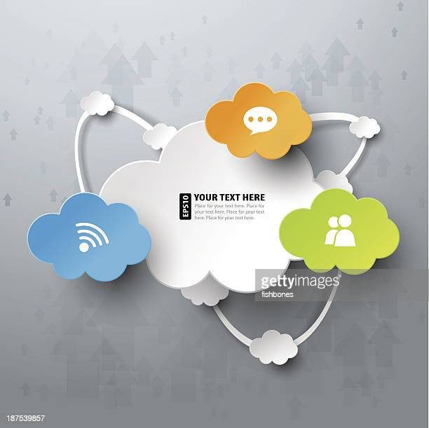 bunte cloud computing vektor-illustration - origami stock-grafiken, -clipart, -cartoons und -symbole