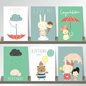 Colorful collection for banners,Flyers,Placards with bear,cat,gi