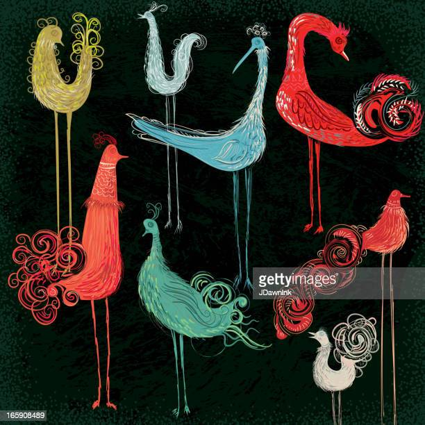 Colorful collection of abstract birds