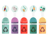 Colorful collection of garbage bins. Recycle containers set for sorted