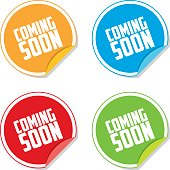 Colorful Coming Soon Sticker Labels