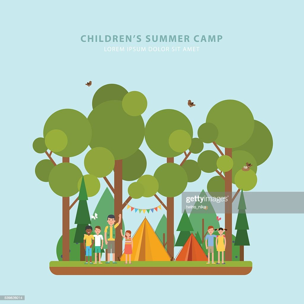 Colorful concept of summer children's camping. Vector flyer.