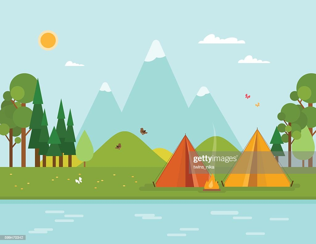Colorful concept with summer camping. Vector illustration.