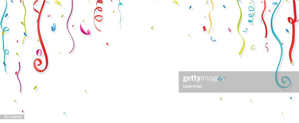 Colorful confetti and streamer on white background
