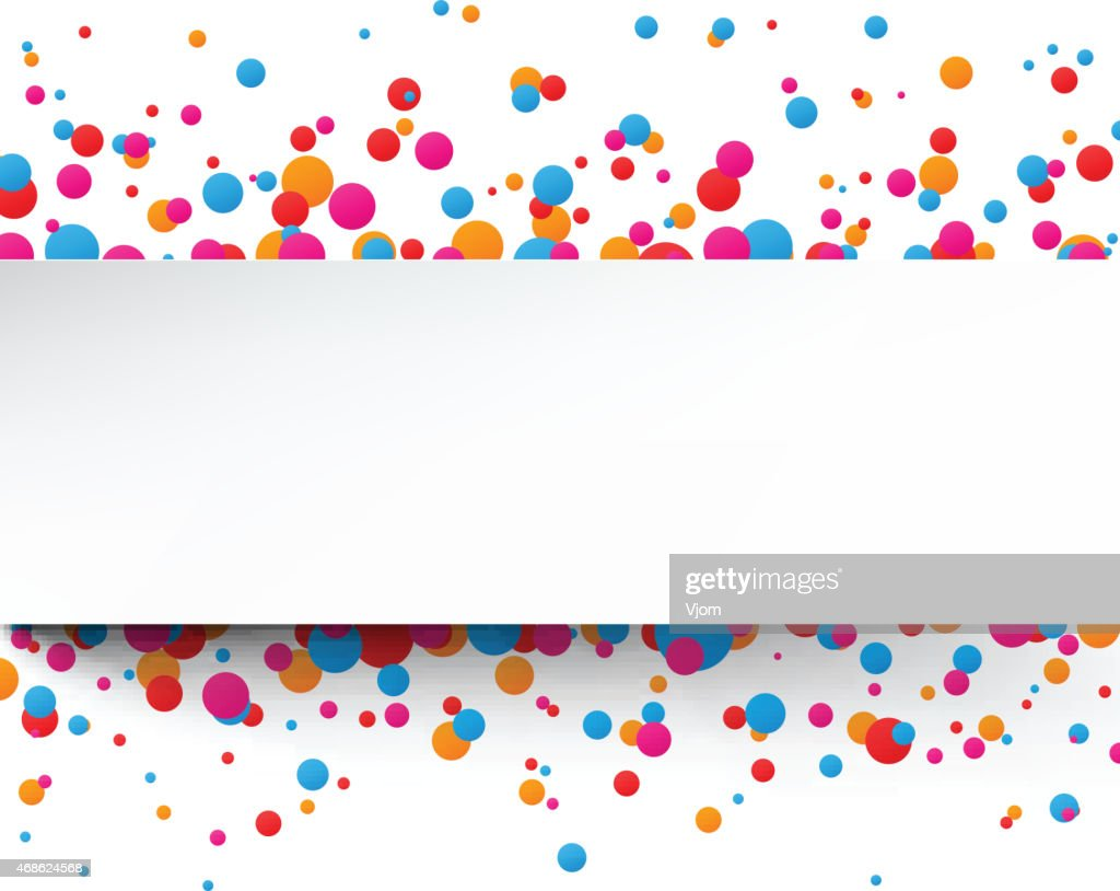 Colorful confetti celebration background with white stripe
