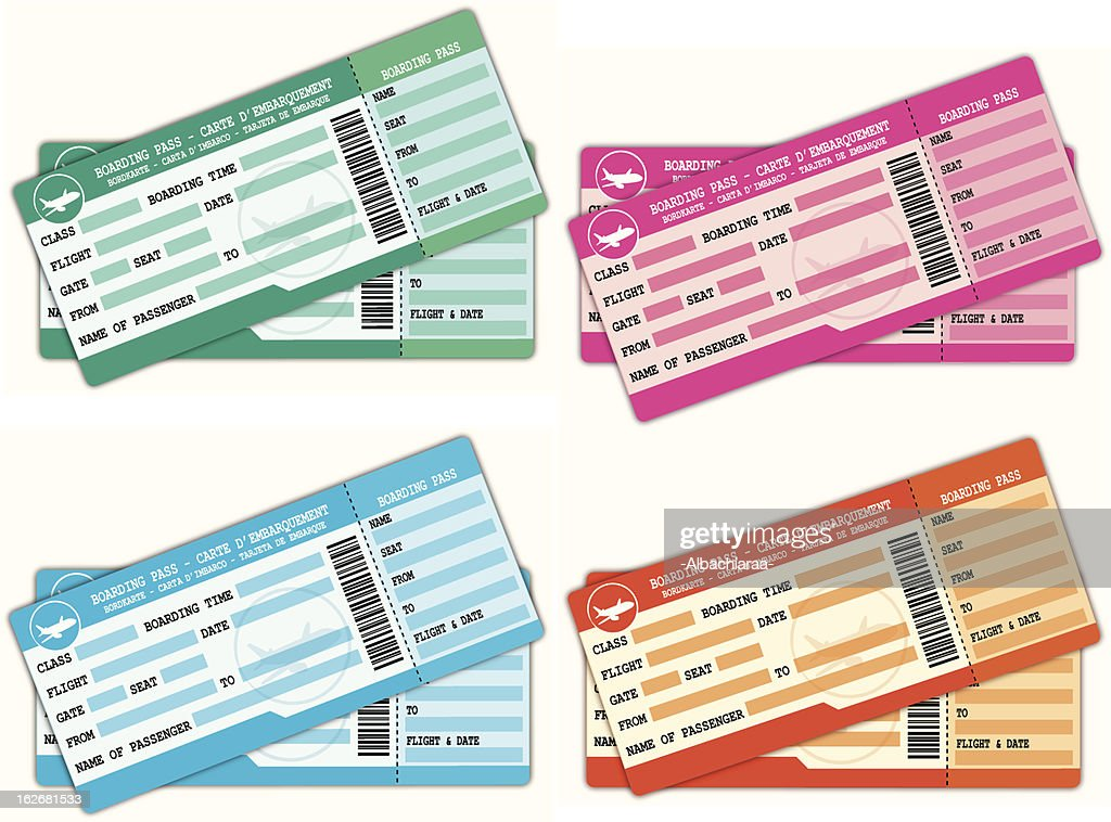 Colorful couples of boarding passes.