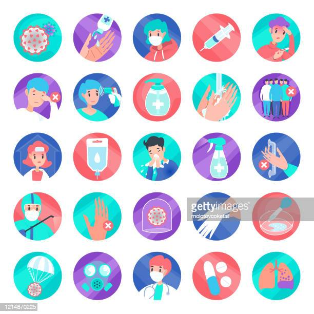 bunte abdeckung-19 rundes icon-set - prevention stock-grafiken, -clipart, -cartoons und -symbole