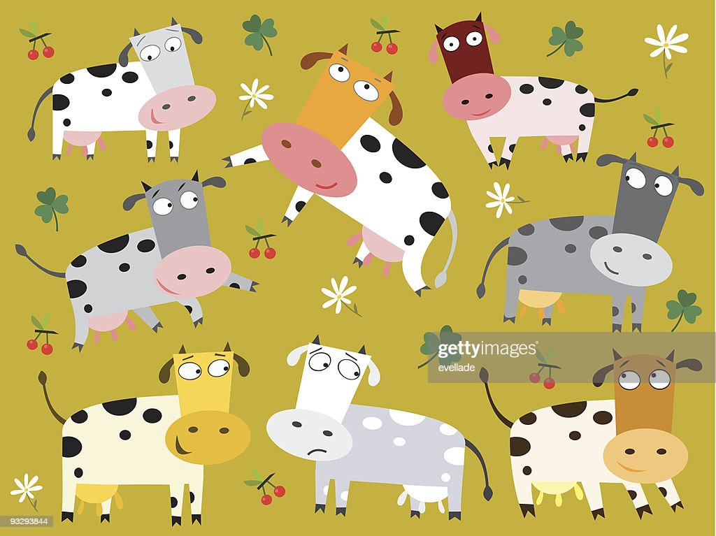 Colorful cows background