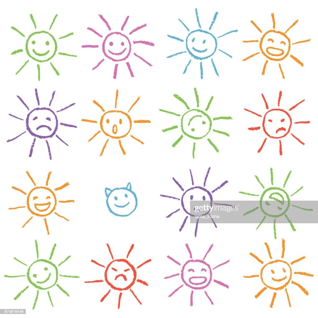 Colorful crayon chalk funny sun with smile. Colorful pastel chalk hand drawn set of happy, glad, happy, angry, sad, faces suns.