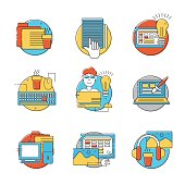 Colorful creative HTML line icons