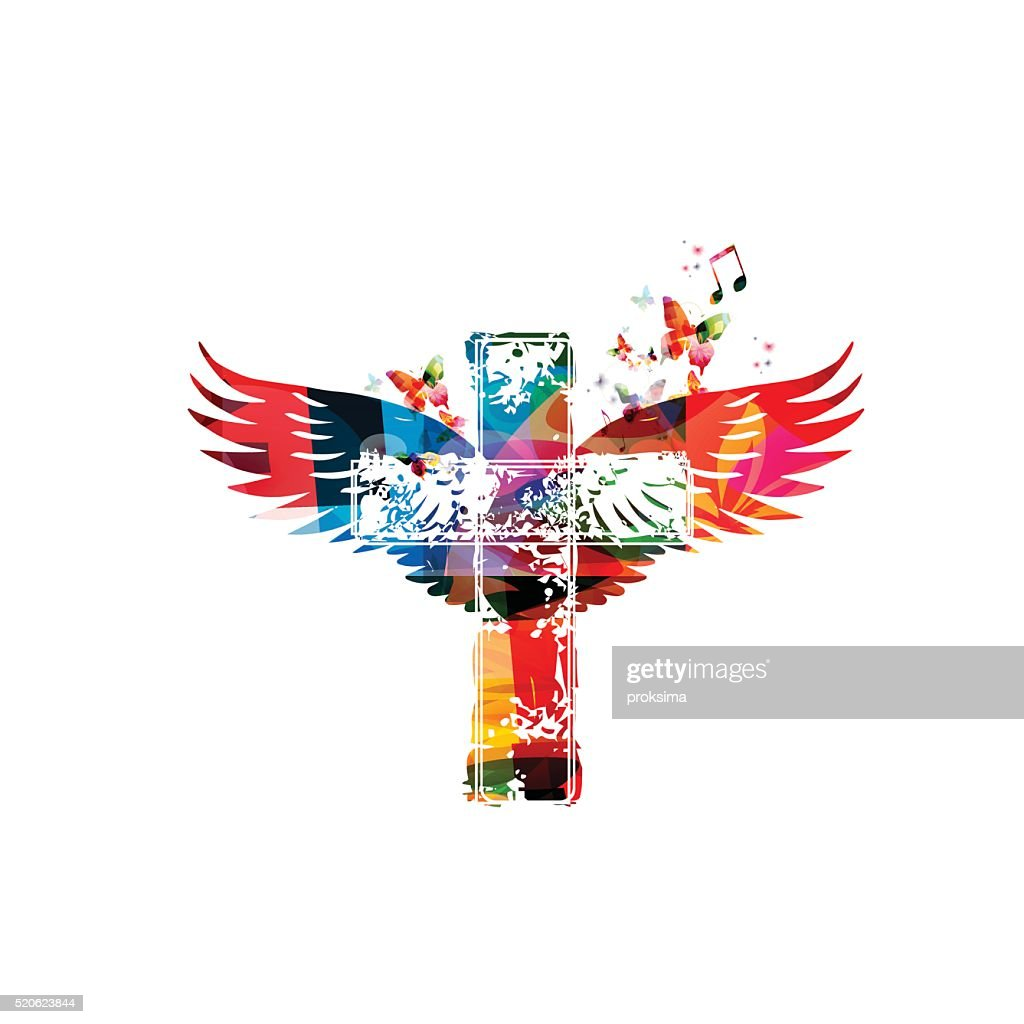 Colorful cross with wings