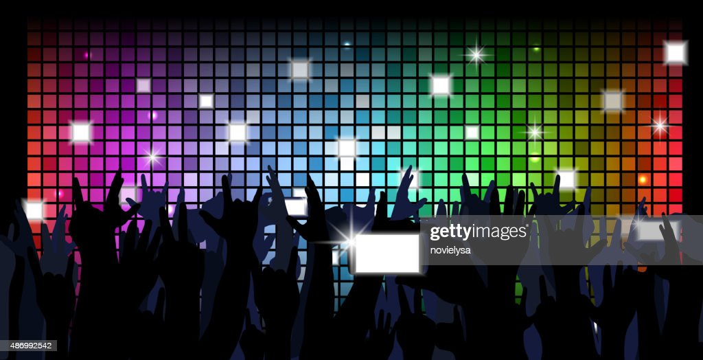 Colorful crowd of party people silhouettes background