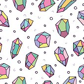 Colorful crystal art seamless pattern background