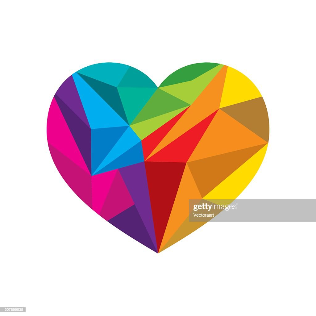colorful crystal heart shape design