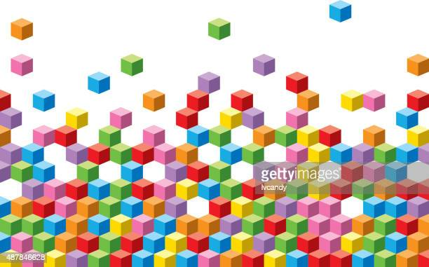 colorful cubes background - bloco stock illustrations
