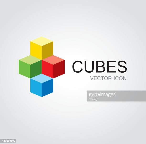 colorful cubes symbol - building block stock illustrations