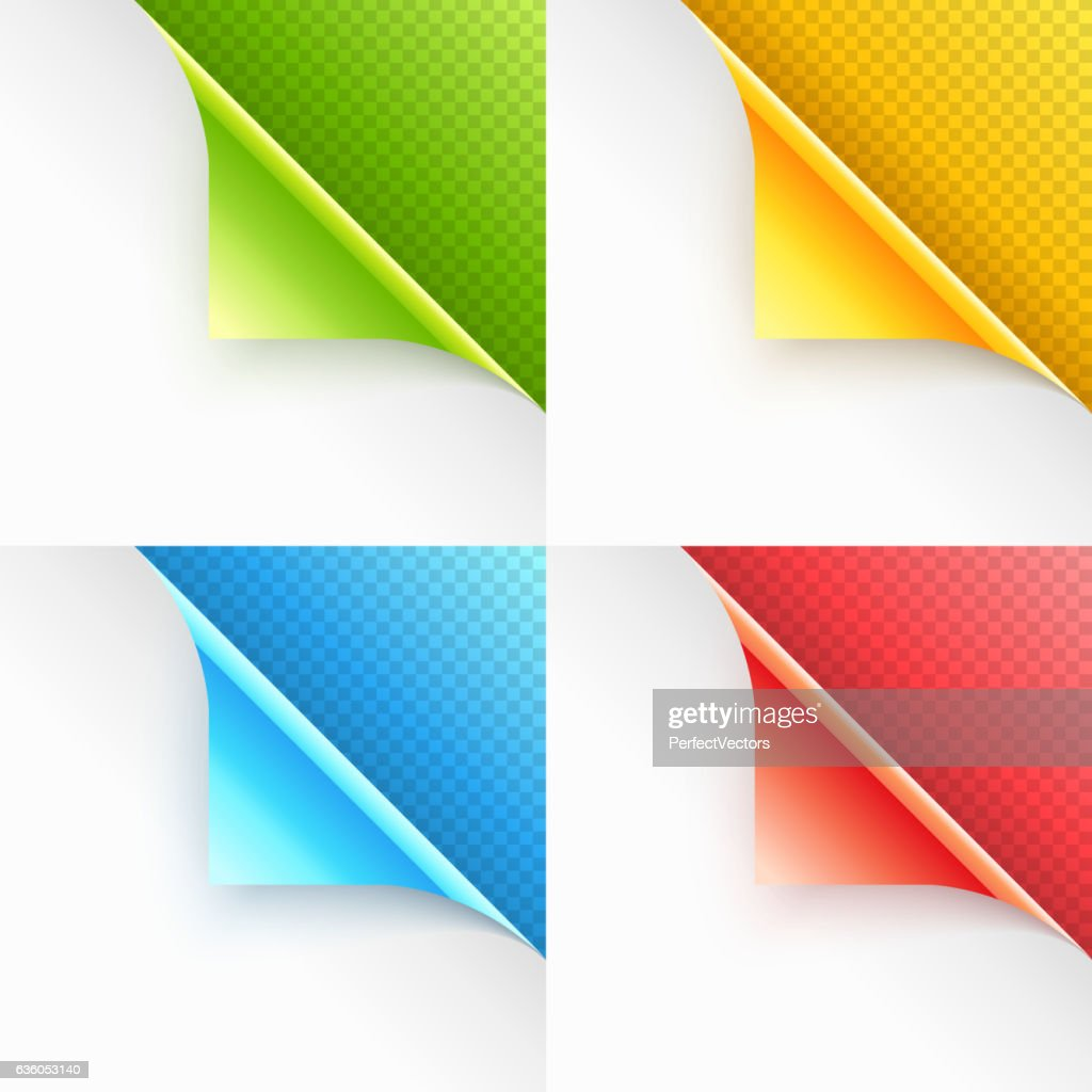Colorful Curled Page Corners with Shadow on Transparent Background