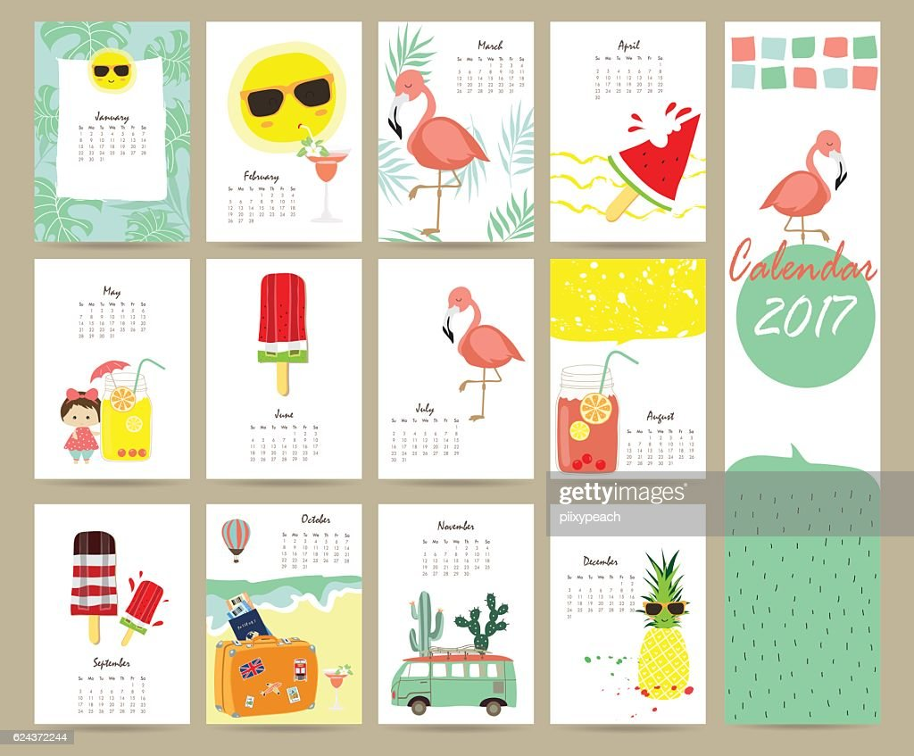 Colorful cute monthly calendar 2017 with Flamingo,ice cream