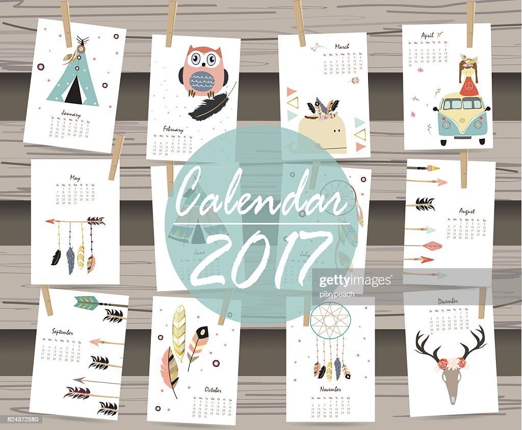 Colorful cute monthly calendar 2017 with tent,whale,feather