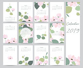 Colorful cute monthly calendar 2018 with leaf,flower.Can be used for web,banner,poster,label and printable