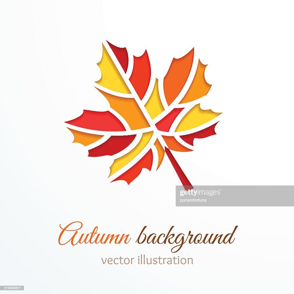 Colorful cutout autumn leaf.