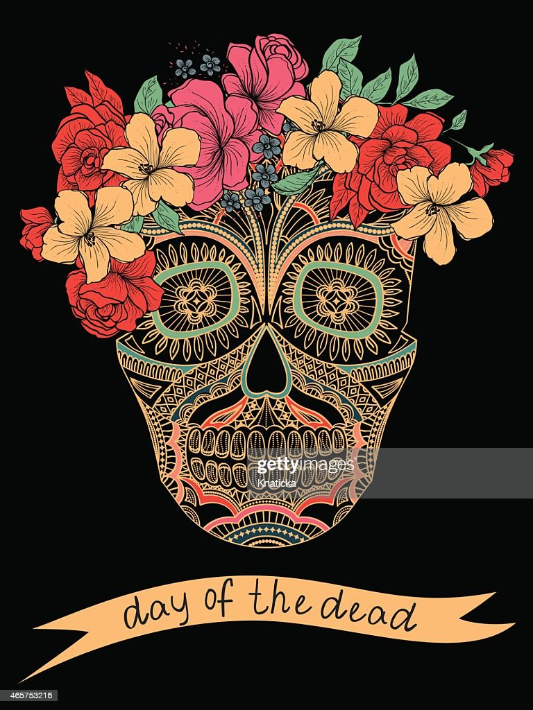 Colorful day of the dead skull with flowers on black