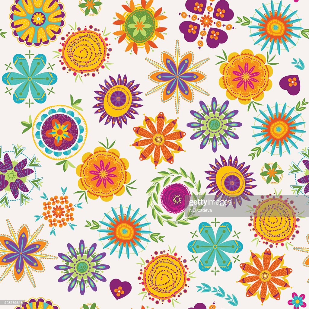 Colorful decorative fantasy flowers. Seamless background pattern.