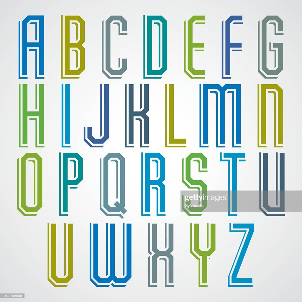 Colorful decorative font, geometric narrow letters